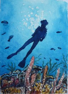 "Original Aceo's (Art Cards Editions & Originals)  This is one-of-a-kind Watercolor Original Painting Signed by The Argentinian artist José Melgratti  Tittled: ""Diver"" ACEOs are miniature works of art that measure 2-1/2"" x 3-1/2"""