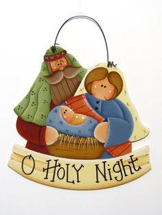 Mary Joseph and Baby Jesus Nativity Sign by ToleTreasures on Etsy, $10.95