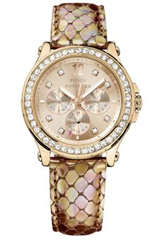 3fd81958e7e Juicy Couture  Pedigree  Crystal Bezel Embossed Strap Watch