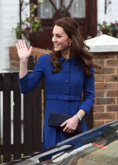 Kate gives a cheerful wave as she departs from the Anna Freud Centre. This afternoon she w...
