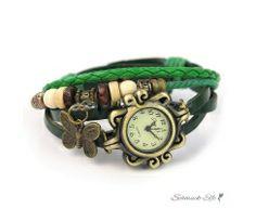 Leder Armbanduhr Schmetterling VINTAGE grün  im Organza...