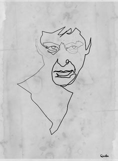 Single Line contour of scarface