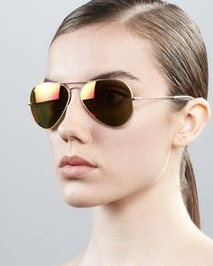Ray Ban Aviator Sunglasses For Women | Ray-ban Aviator Sunglasses with Flash Lenses Goldred Mirror in Gold ...