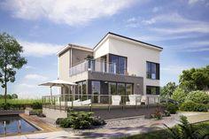 Fertighaus Architektenhaus Riccio, kompaktes Einfamilienhaus mit Schmetterlingsdach und Dachbalkon