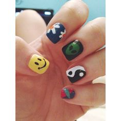 90s Nostalgia nail art // #nails #kelseydoesnails #90s Es Nails, Skittle, Grunge Nails, 90s Nostalgia, Claws, My Design, Manicure, Nail Art, Hairstyle