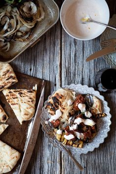 grilled chorizo and flatbread with roasted vegetables