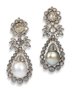A pair of pearl and diamond pendent earrings  Each pear-shaped pearl of either black or white tint, capped by rose-cut diamonds, within a similarly-set diamond surround and floral surmount, within closed-back settings, length 4.9cm, fitted case