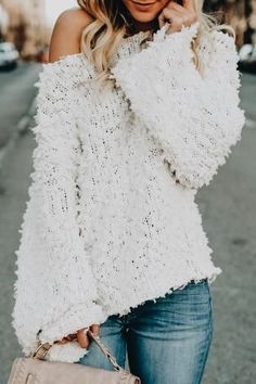 Bell sleeve off the shoulder sweater.