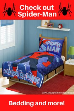 Looking for the perfect Spider-Man gift, check out these bedding sets and more! perfect for the Spider-Man fan! this contains affiliate links Colour Schemes, Family Gifts, Household Items, Bedding Sets, Gifts For Him, Spiderman, Toddler Bed, Best Gifts, Jeju Island