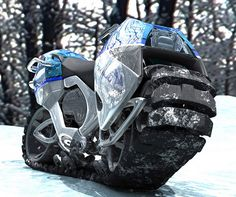 Hyanide - Go-Anywhere Tank / Motorcycle The Hyanide can basically take you anywhere you want to go, from snow to sand to mud with ease and at speeds of up to 75-85 mph! To drive it, you basically have to stradle a massive flexible rubber tank tread that arches from front to back when going into sharp turns.