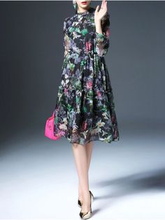 Floral-print Paneled Midi Dress