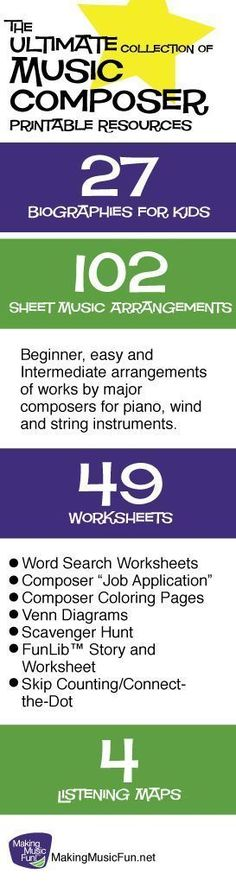 Free composer biographies and worksheets, and beginner-intermediate level sheet music - all for kids. Awesomeness!