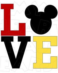 Printable DIY Mickey Mouse Love Iron on transfer digital image clipart INSTANT… Disney Dream, Disney Magic, Disney Art, Mickey Mouse Shirts, Mickey Minnie Mouse, Disney Printables, Image Clipart, Quilling Patterns, Mickey Mouse Birthday