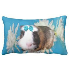 Blue Guinea Pig Flowers Lumbar Cushion. Lumbar Pillow - home gifts ideas decor special unique custom individual customized individualized