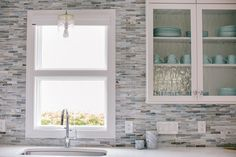Coastal-inspired Home Renovation Kitchen Mosaic, Mosaic Backsplash, Kitchen Backsplash, Kitchen Cabinets, Shower Faucet Sets, Home Interior Design, Interior Ideas, Diy Home Repair, Inspired Homes