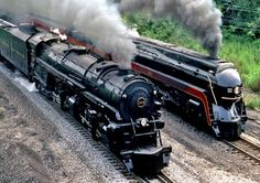 Norfolk & Western Class A #1218 - 2-6-6-4 - was built for the N&W and began service on June 2, 1943 and regularly pulled 190 loaded coal cars. Number 611 - Norfolk and Western Railway's J class steam locomotives were class of 4-8-4 locomotives built by the Norfolk and Western Railway's East End Shops in Roanoke.