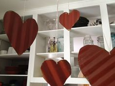 I want these all over my house!!   Corrugated Scrap Metal Valentine Hearts