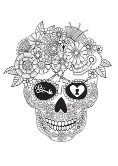 Lost Love Sugar Skull is part of Skull coloring pages - Lost Love Sugar Skull Wall Art, Canvas Prints, Framed Prints, Wall Peels Skull Coloring Pages, Coloring Book Pages, Coloring Sheets, Adult Coloring, Mandala Art, Mandalas Painting, Zentangle, Outline Drawings, Sugar Skull Drawings