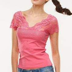4 Colors Fashion 2017 New Women Blusas Lace Diamonds Slim T-Shirts Sexy Ladies Solid Short Sleeve V Neck Summer Top Tees