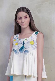 Peonies Pleat Top | GLANCEZ | NOT JUST A LABEL