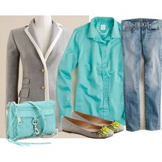 My favorite color, aqua!  I have everything, except the bag, in my closet to recreate the look.