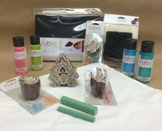 A brand new Plaid product line recently launched at Hobby Lobby and on plaidonline.com.  It's called Fabric Creations and encompasses a variety of intricately designed block stamps, super soft fabric inks and tools such as paint applicators, foam printing mats and cleaning brushes.