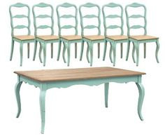Turquoise French Dining Table Set (1 Table 6 Chairs) by Shabby Chic Home