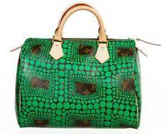 SOLD-Louis Vuitton Green Monogram Kusama Town Speedy 30 Handbag