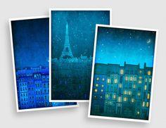 Paris postcards  Set of 3  Handmade postcardsParis Art by tubidu