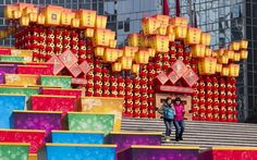 New Year approaching. This colorful display is for the Chinese New Year in Beijing. The Year of the Snake begins Feb 10th.