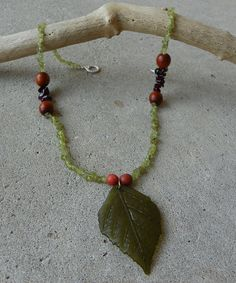 Green Leaf Necklace by TwoBlueRavens on Etsy, $30.00