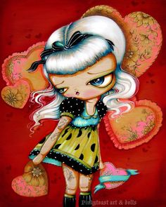 Her Red Valentine-Big Eyed Platinum Tattoo Sweetheart-Pinkytoast Art Print-8x10. $14.00, via Etsy.