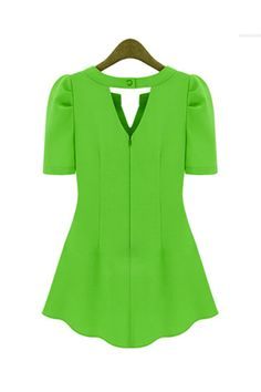 http://www.lovelywholesale.com/wholesale-new style woman v neck short sleeve solid green chiffon candy color blouse-g116342.html