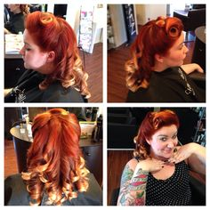Red orange ombré pin up rockabilly hair Rockabilly Hairstyle, Orange Ombre, Wedding Hairstyles, Pin Up, Dreadlocks, Hair Styles, Red, Beauty, Hair Plait Styles
