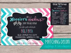5x7 HOOSIERS or HAIRBOWS Baby Gender Reveal Invitation, Boy or Girl, Party, Polka Dot, chevron, announcement, baby shower, Chalkboard Racing Racecar Race Pink or Blue Invite