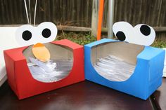 Elmo and Cookie Monster Silverware Boxes made out of recycled tissue boxes