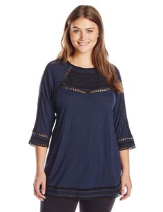Lucky Brand Women's Plus-Size Embroidered Yoke Top at Amazon Women's Clothing store: