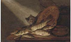 Pieter de Putter (Dutch, 1605–1659) Title: A cat, dead fish, earthenware pots and a fishing net on a table