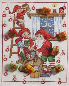 Broder au point de croix christmas gifts calendar d'Anchor