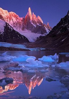 Sunrise reflection, Crimson Crags, Cerro Torre, Los Glaciares National Park, Patagonia, Argentina.