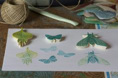 hand carved stamps by Margaret Oomen (Resurrection Fern)