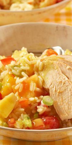 Reis-Salat mal anders: fruchtig frisch und mit Currysauce gewürzt.