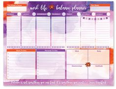 "Work/Life Balance Planning Pad PRE-ORDER - 8.5"" x 11"""