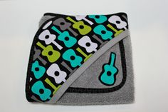 Modern guitar rock hooded baby bath towel  shower by LilKingdom, $32.00