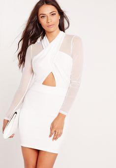 Long Sleeve Mesh Wrap Bodycon Dress White, White