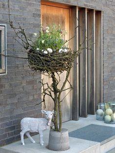 Osterdeko: Osternest aus Kirschzweigen mit Frühlingsblumen