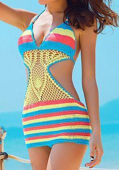 Halter Colorful Striped Crochet One Piece Swimwear Crochet Beach Dress, Bikinis Crochet, Crochet Shirt, Crochet Lace, Crochet One Piece, Hippie Crochet, Moda Boho, Swimwear Fashion, Women's Swimwear