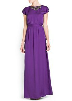 MANGO - CLOTHING - Dresses - Maxis - EMBELLISHED NECKLINE GOWN