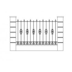 Perimeter Fence dwg Cad Blocks Free, Revit Family, Cad Library, Cad Drawing, Entrance Gates, Gate Design, Autocad, Fence, Architecture