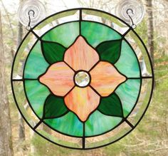 Round Stained Glass Panel Peach  Pink by CartersStainedGlass